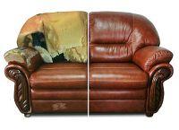 Кожаная мебель до и после перетяжки
