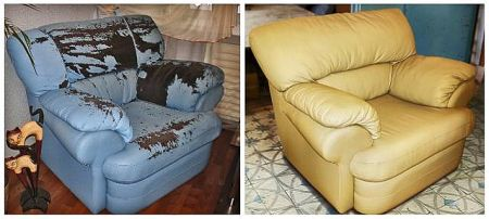 Фото - кресло до и после реставрации